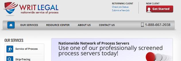 New Writ Legal Website Screenshot